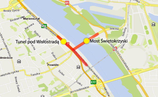 Zamknięty most Świętokrzyski i tunel Wisłostrady
