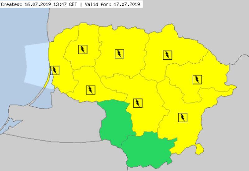 Ostrzeżenia meteorologiczne na Litwie (meteoalarm.eu)