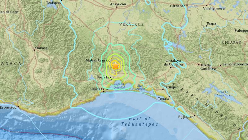 Siła trzęsienia ziemi w Meksyku (USGS)