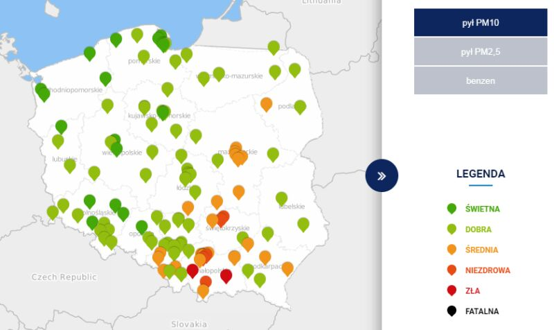 Stężenie pyłu PM10 o godzinie 21 (GIOŚ)